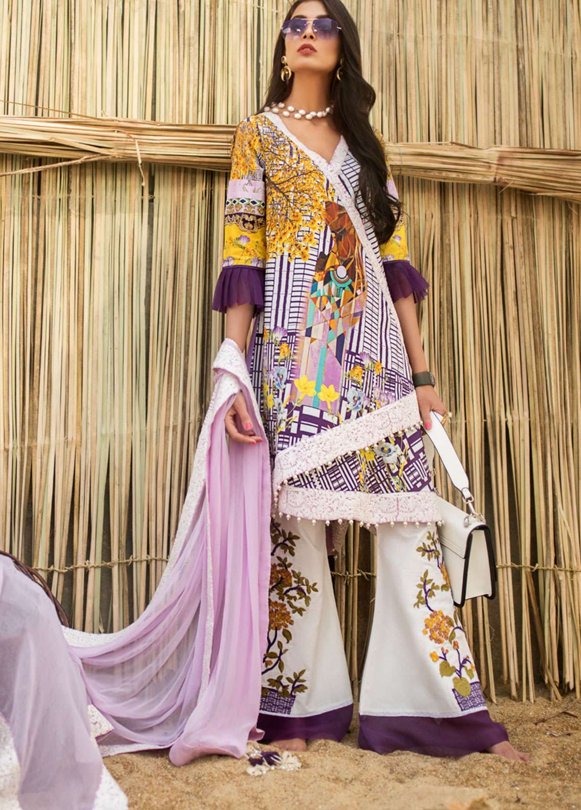 Ayesha Ibrahim by ZS Embroidered Lawn Unstitched 3 Piece Suit AI19L 10 LAVENDER - Spring / Summer Collection