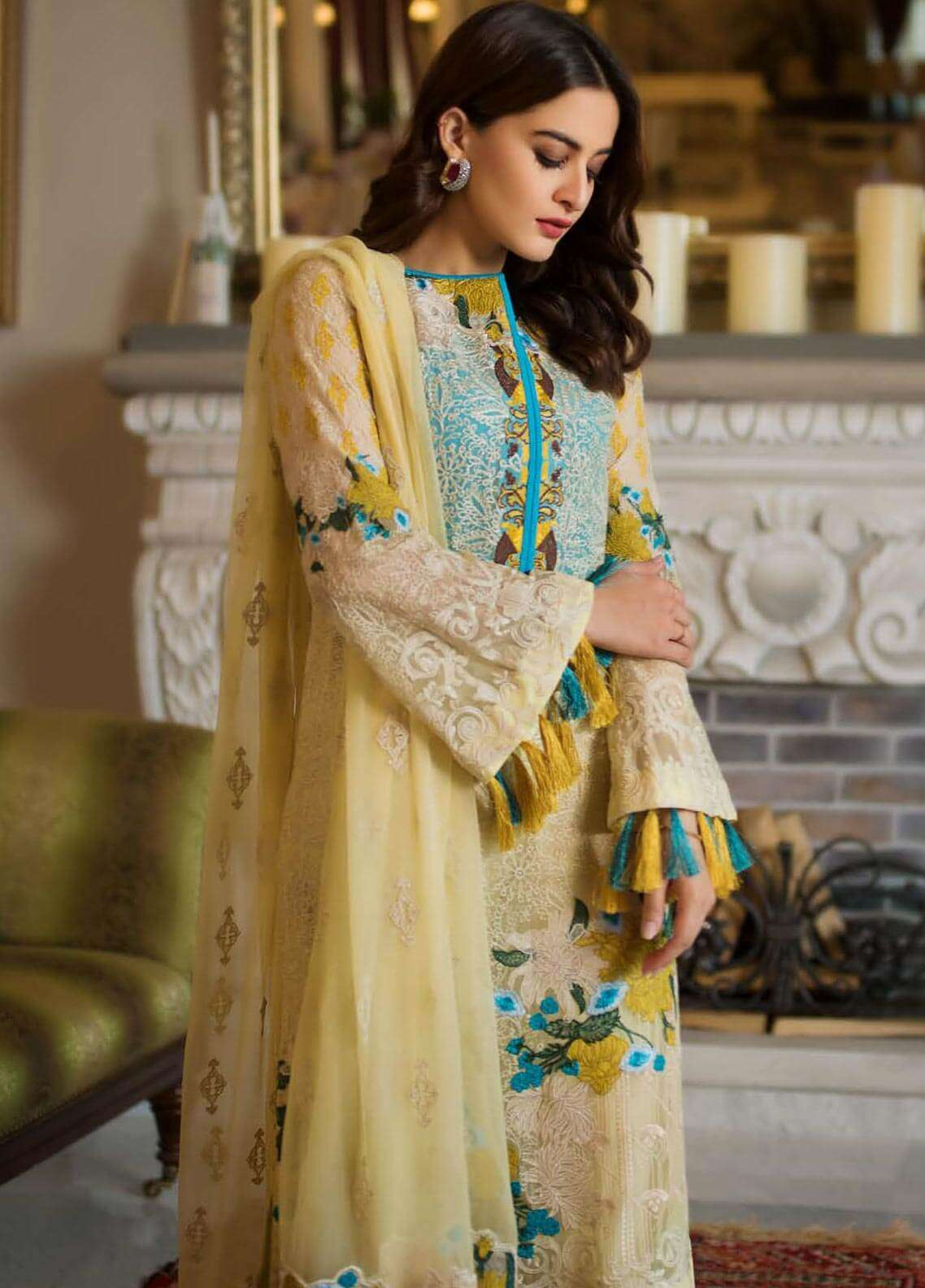 Ayesha Ibrahim by ZS Embroidered Chiffon Unstitched 3 Piece Suit AYI18C Godze - Luxury Collection