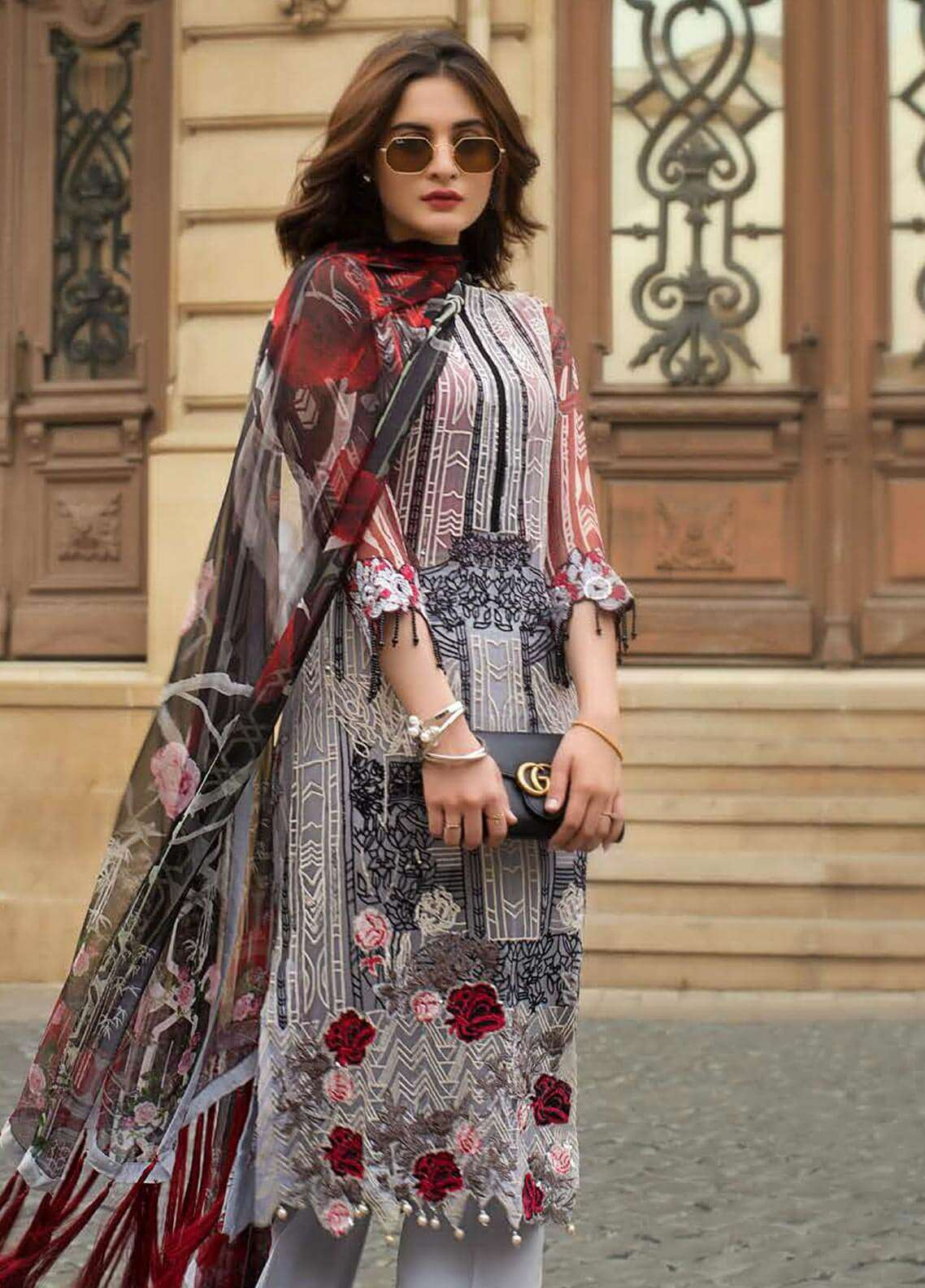 Ayesha Ibrahim by ZS Embroidered Chiffon Unstitched 3 Piece Suit AYI18C Melody - Luxury Collection
