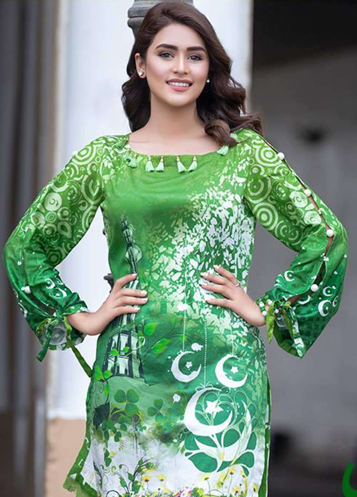 Al Zohaib Printed Cotton Silk Unstitched Kurties AZ18AK 02 - Independence Outfit