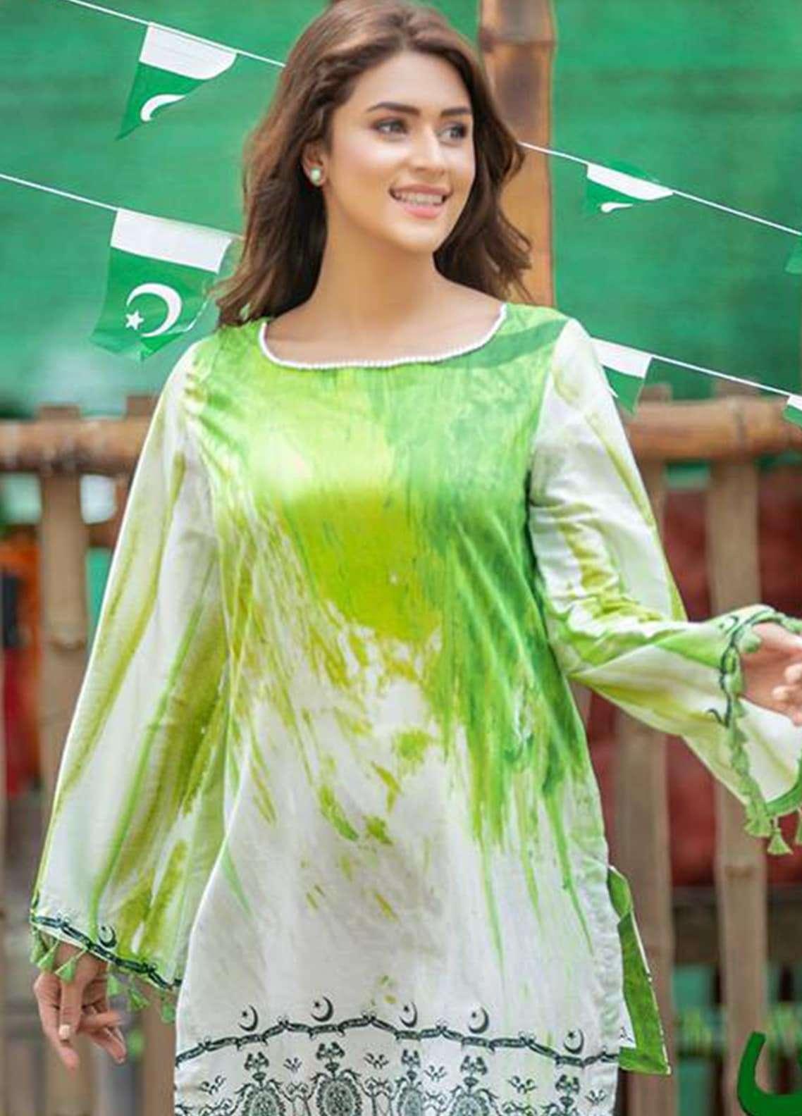 Al Zohaib Printed Cotton Silk Unstitched Kurties AZ18AK 07 - Independence Outfit