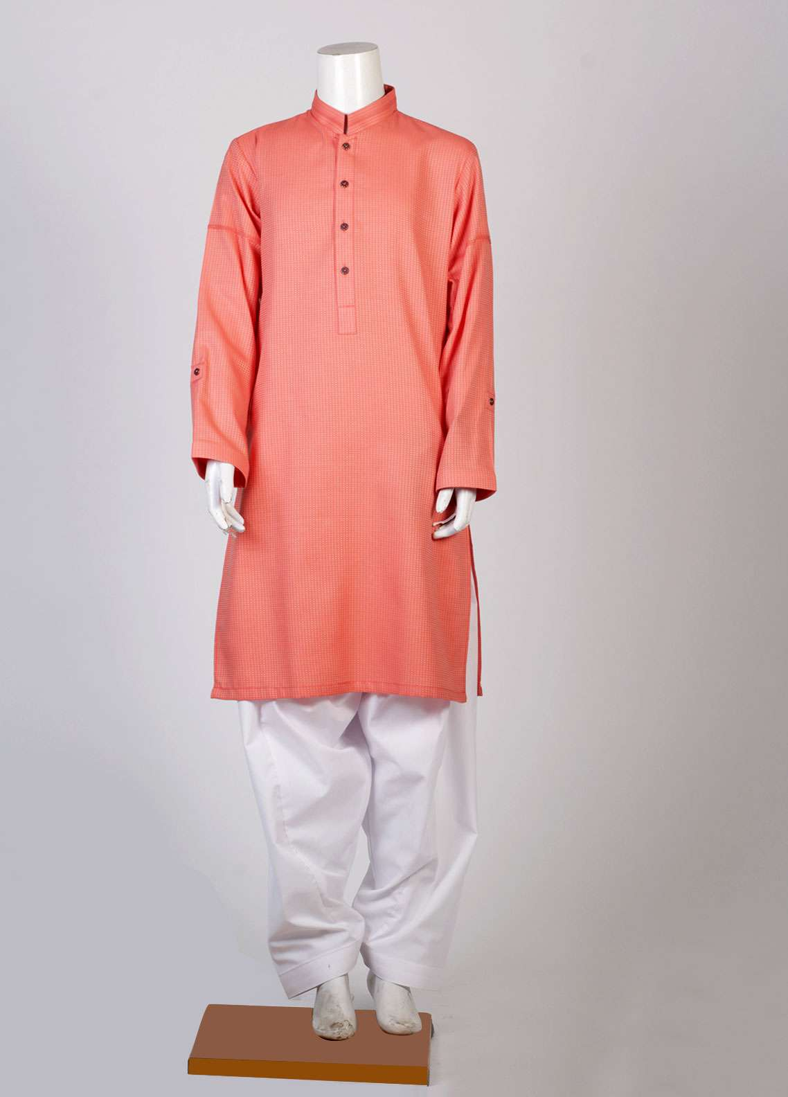 Aizaz Zafar Cotton Fancy Suits for Boys - Orange AZ18B 008