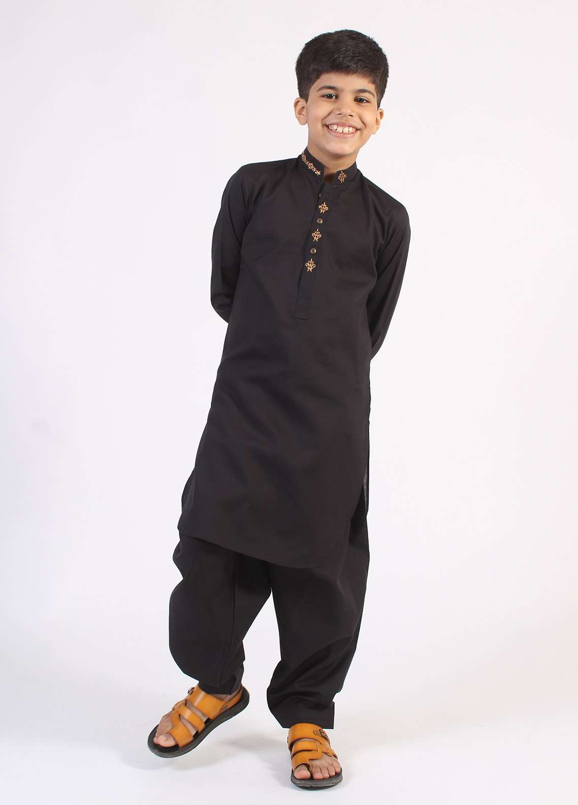46b53393ff Aizaz Zafar Cotton Embroidered Kameez Shalwar for Boys - Black AZ18B 200