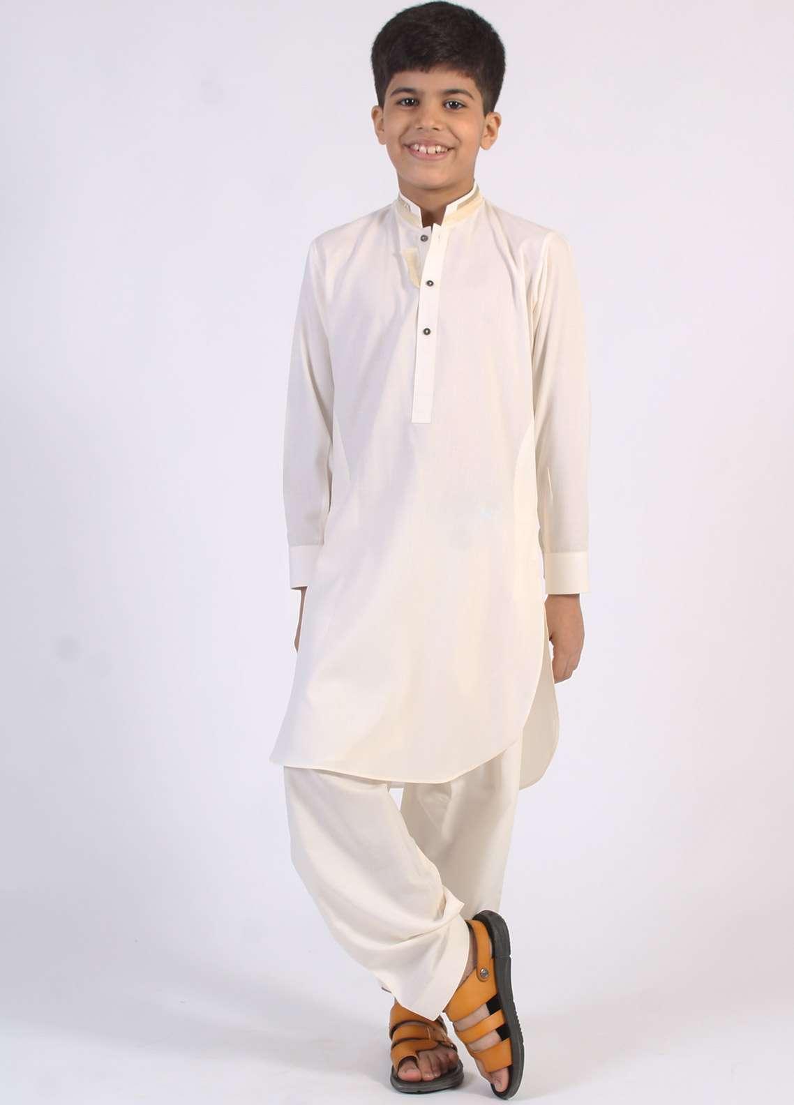 Aizaz Zafar Cotton Embroidered Boys Kameez Shalwar - Cream AZ18B 201