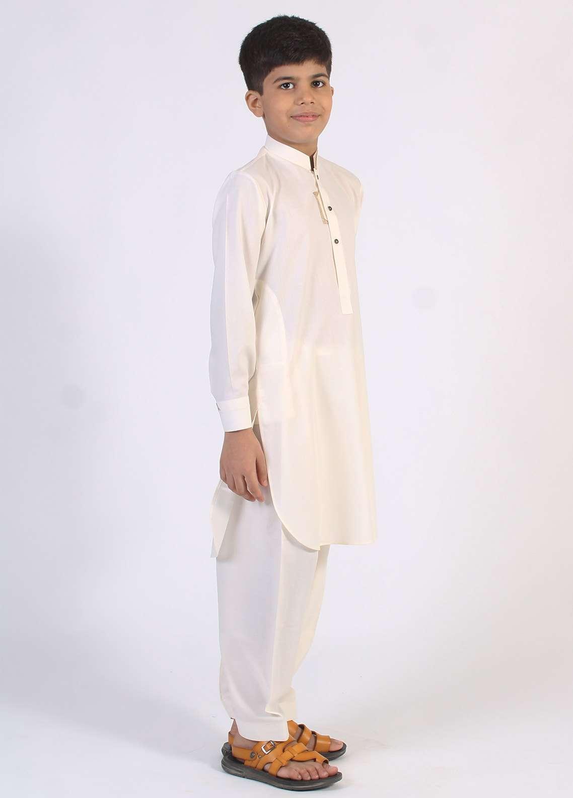 Aizaz Zafar Cotton Embroidered Kameez Shalwar for Boys - Off White AZ18B 202