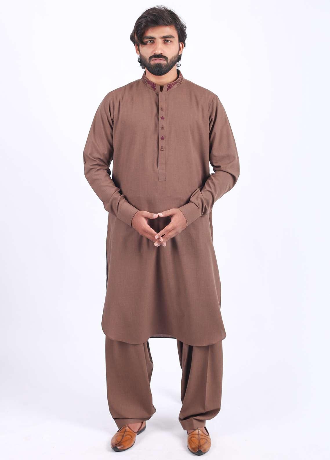 Aizaz Zafar Wash N Wear Embroidered Shalwar Kameez for Men - Brown AZ18M 019