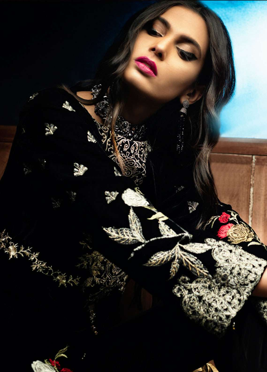 Azalea Embroidered Velvet Unstitched Kurti AZA18SW 01 - Festive Collection