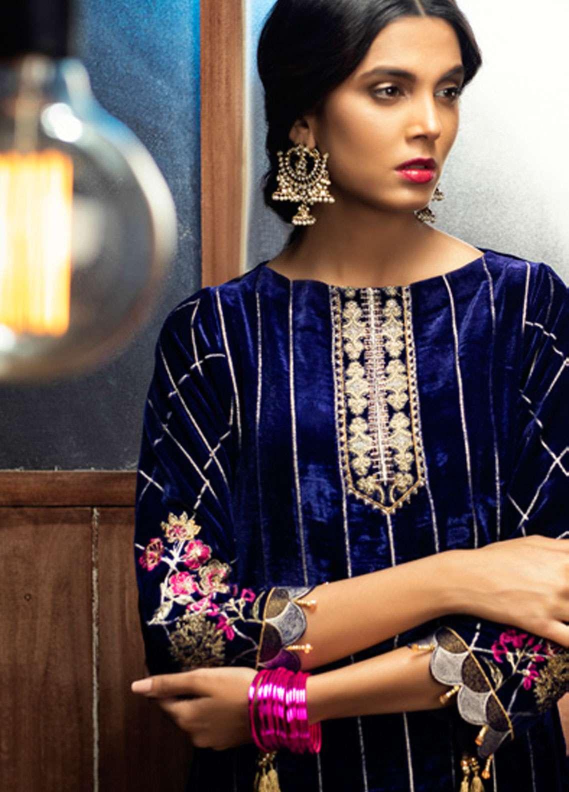 Azalea Embroidered Velvet Unstitched Kurti AZA18SW 02 - Festive Collection