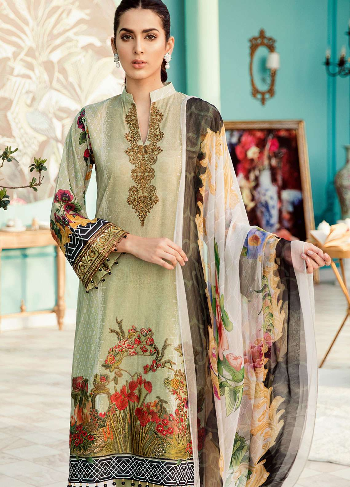 Azalea Embroidered Lawn Unstitched 3 Piece Suit AZA19EL 02 - Spring / Summer Collection