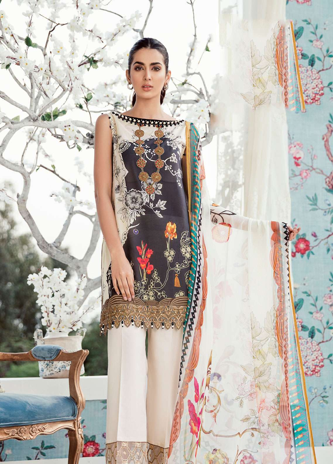 Azalea Embroidered Lawn Unstitched 3 Piece Suit AZA19EL 03 - Spring / Summer Collection