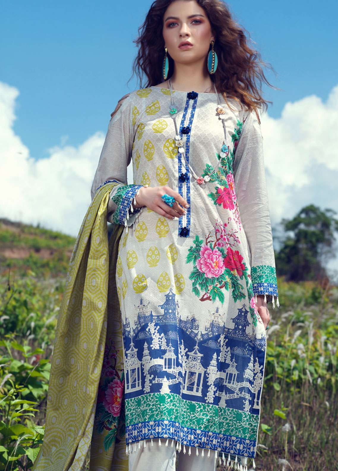Azalea Printed Lawn Unstitched 3 Piece Suit AZA19L 05 LIME PUNCH - Spring / Summer Collection