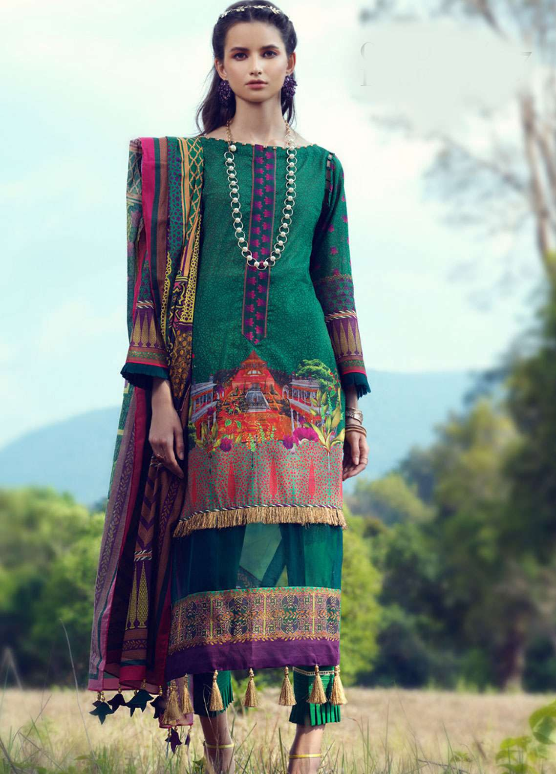 Azalea Printed Lawn Unstitched 3 Piece Suit AZA19L 07 GARDEN LAKE - Spring / Summer Collection
