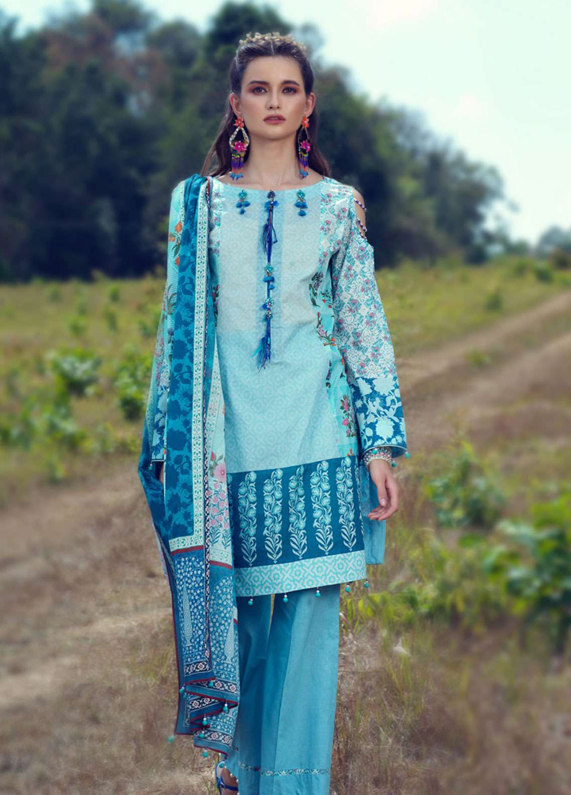 Azalea Printed Lawn Unstitched 3 Piece Suit AZA19L 13 AQUA GLOW - Spring / Summer Collection