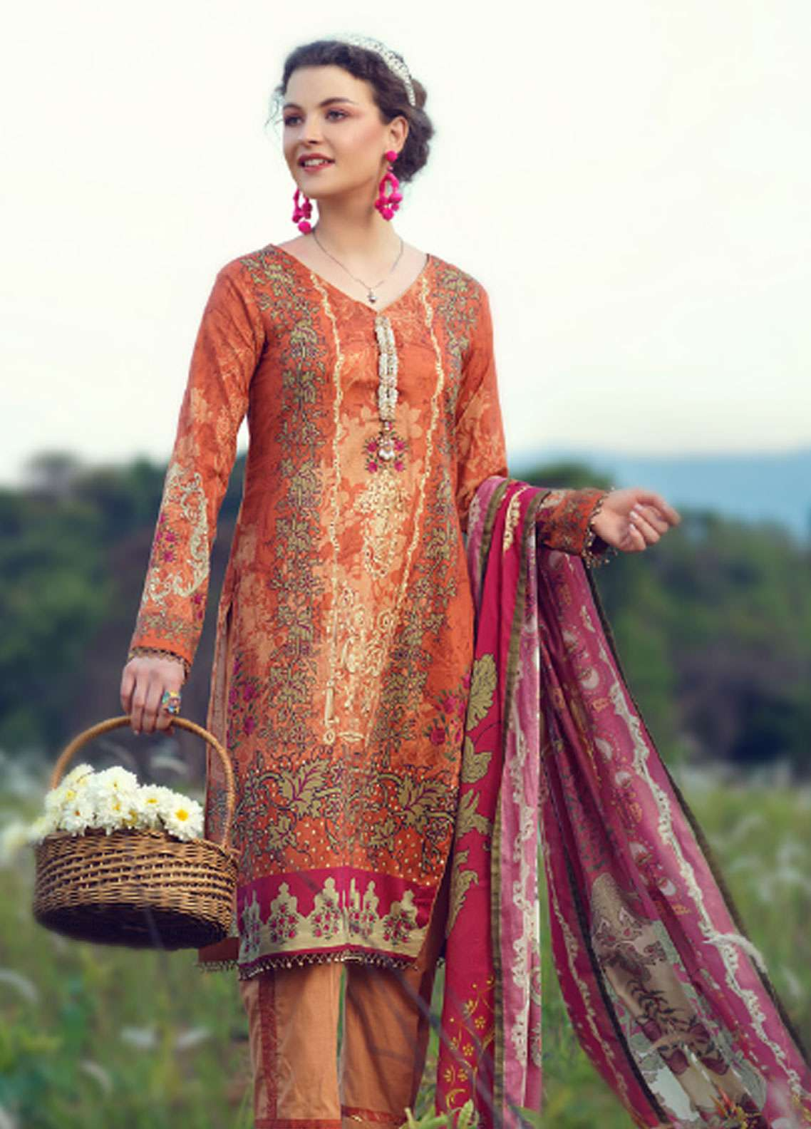 Azalea Printed Lawn Unstitched 3 Piece Suit AZA19L 14 ORANGE PEEL - Spring / Summer Collection