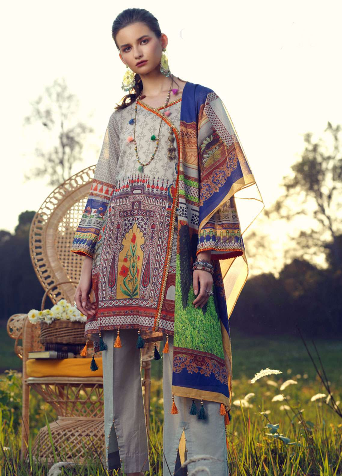 Azalea Printed Lawn Unstitched 3 Piece Suit AZA19L 16 ORANGEADE - Spring / Summer Collection