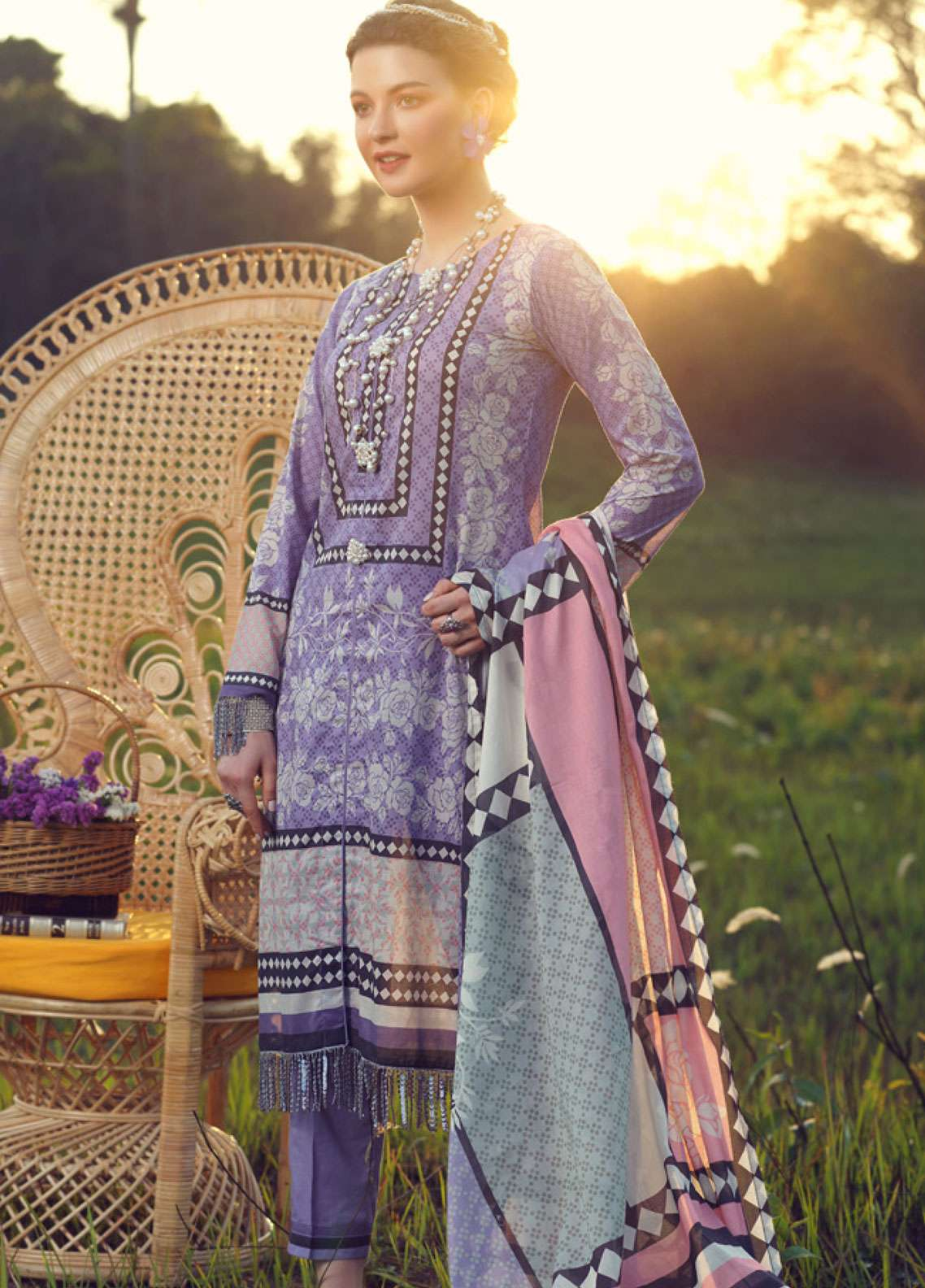 Azalea Printed Lawn Unstitched 3 Piece Suit AZA19L 17 SWEET LAVENDER - Spring / Summer Collection