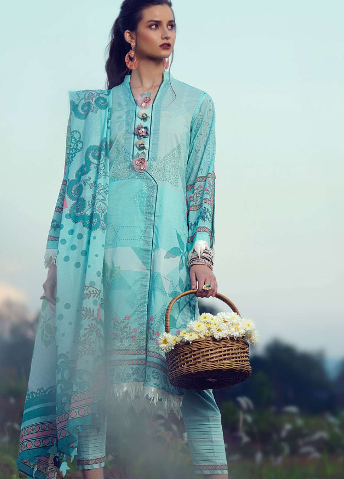 Azalea Printed Lawn Unstitched 3 Piece Suit AZA19L 18 CRYSTAL - Spring / Summer Collection