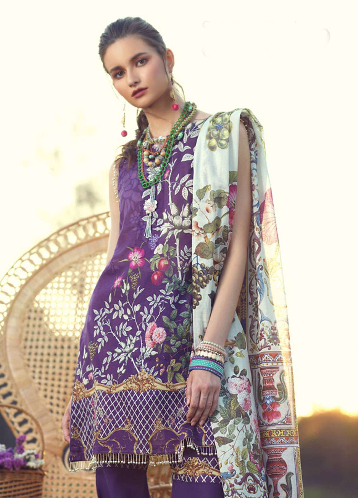 Azalea Printed Lawn Unstitched 3 Piece Suit AZA19L 19 SWEET GRAPE - Spring / Summer Collection