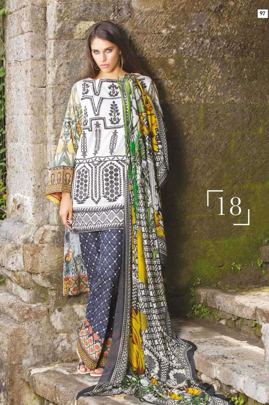 Mahgul by Al Zohaib Embroidered Lawn Unstitched 3 Piece Suit AZM17L 18