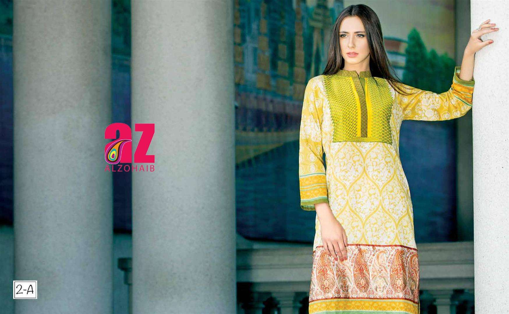 Zaneesha By Al Zohaib Embroidered Lawn Unstitched Kurtis AZN16S 2A