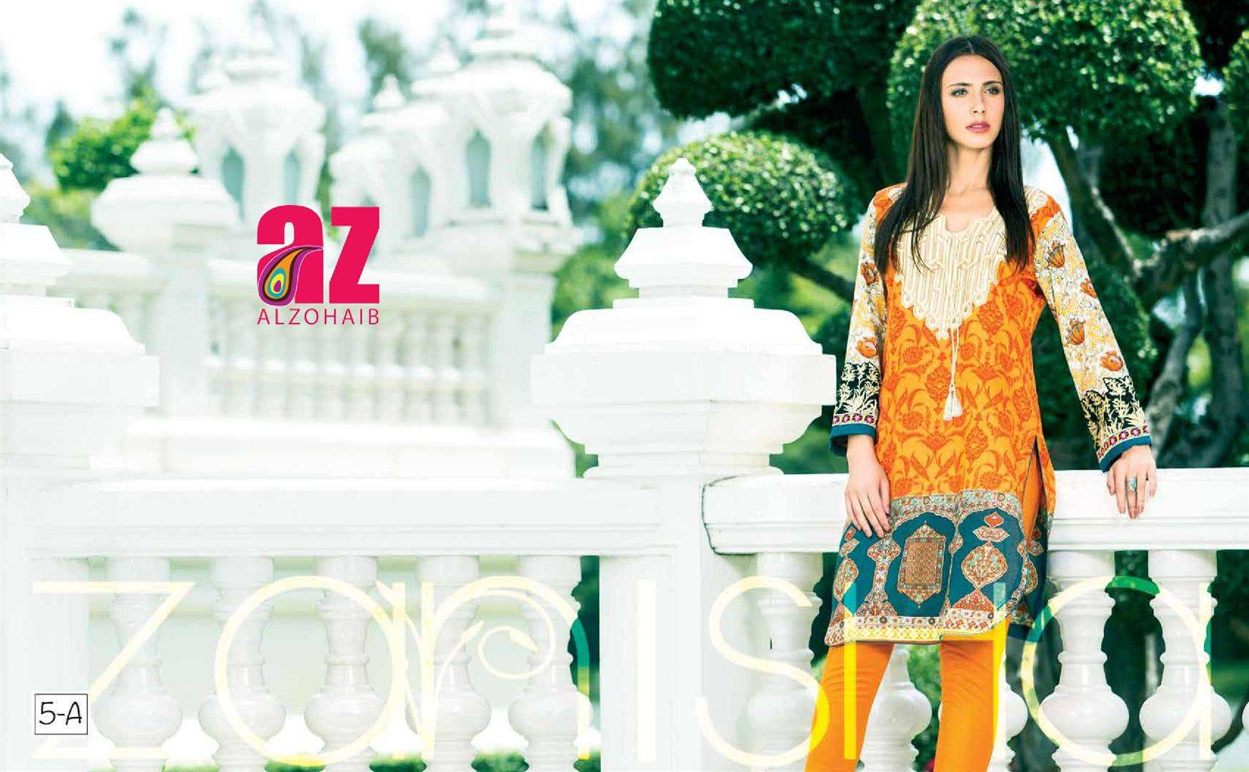 Zaneesha By Al Zohaib Embroidered Lawn Unstitched Kurtis AZN16S 5A