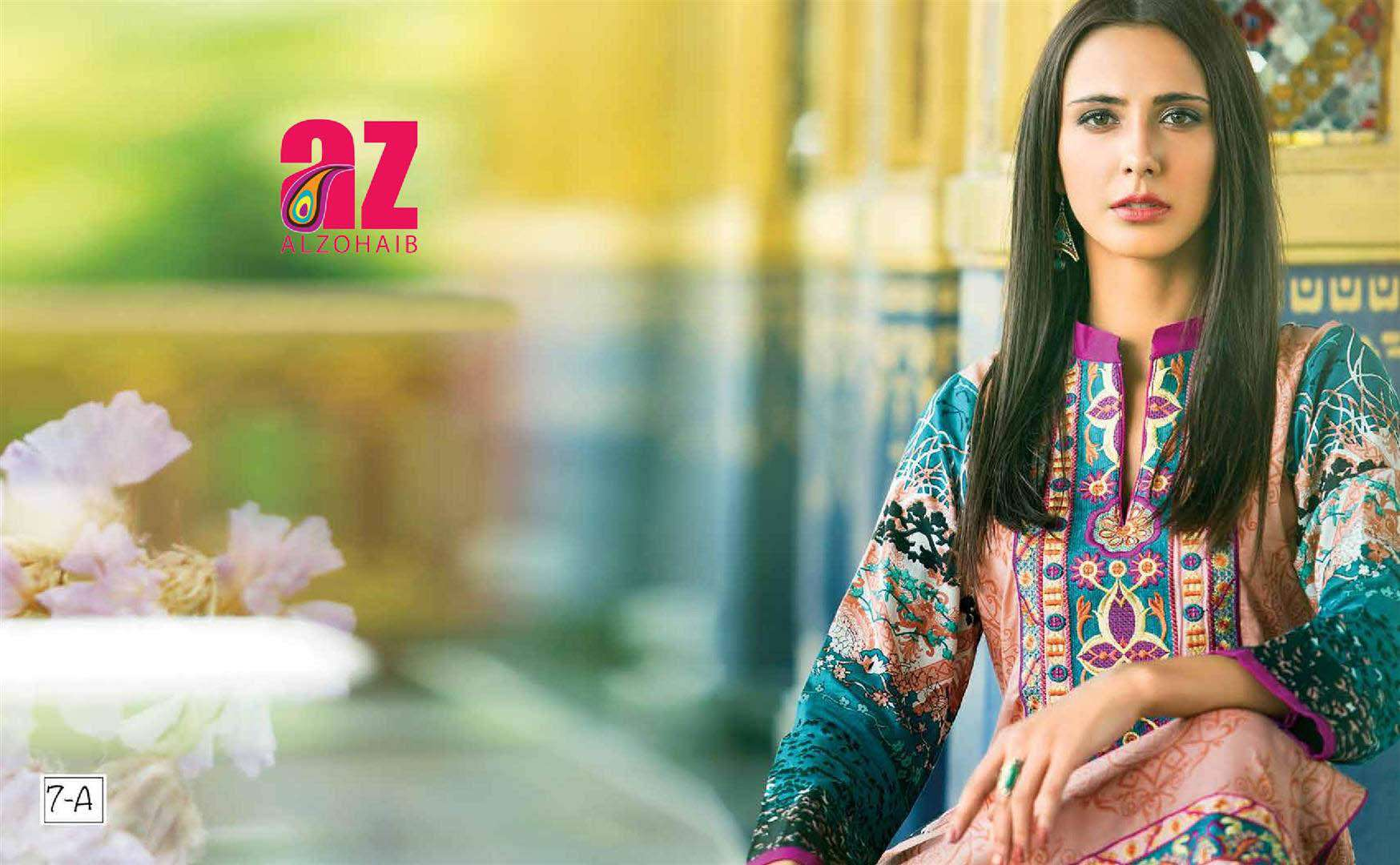 Zaneesha By Al Zohaib Embroidered Lawn Unstitched Kurtis AZN16S 7A