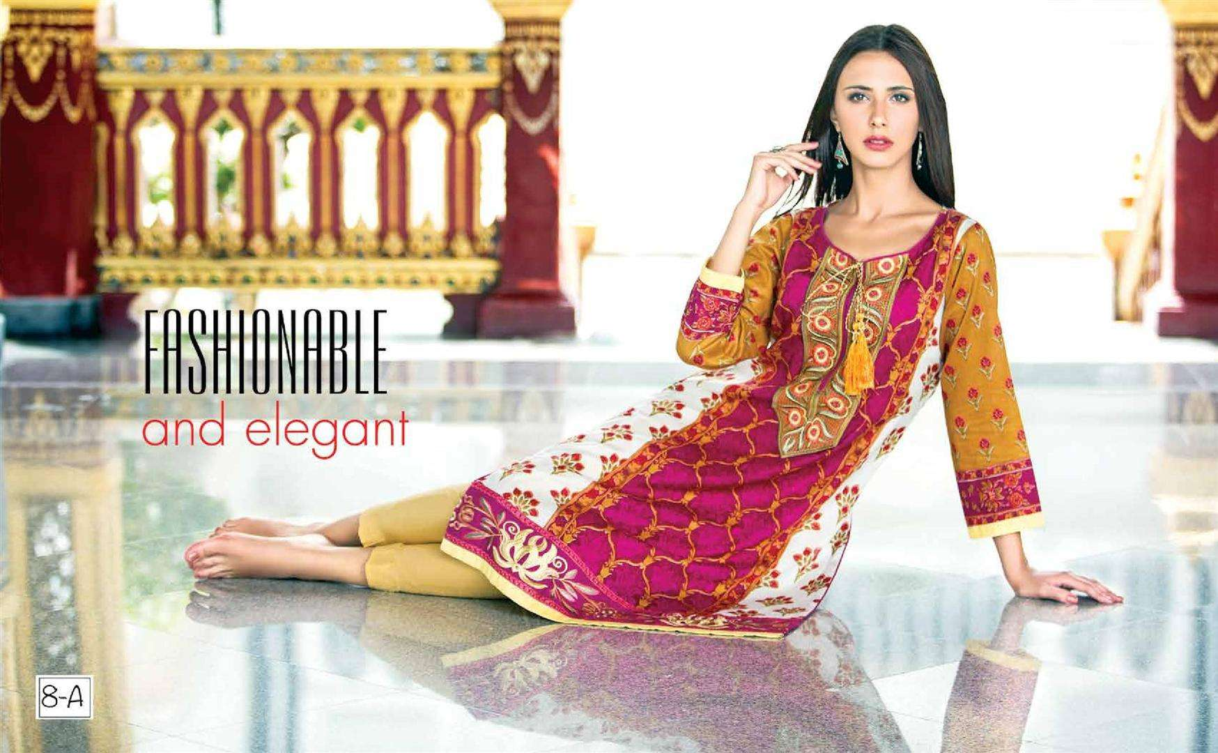 Zaneesha By Al Zohaib Embroidered Lawn Unstitched Kurtis AZN16S 8A