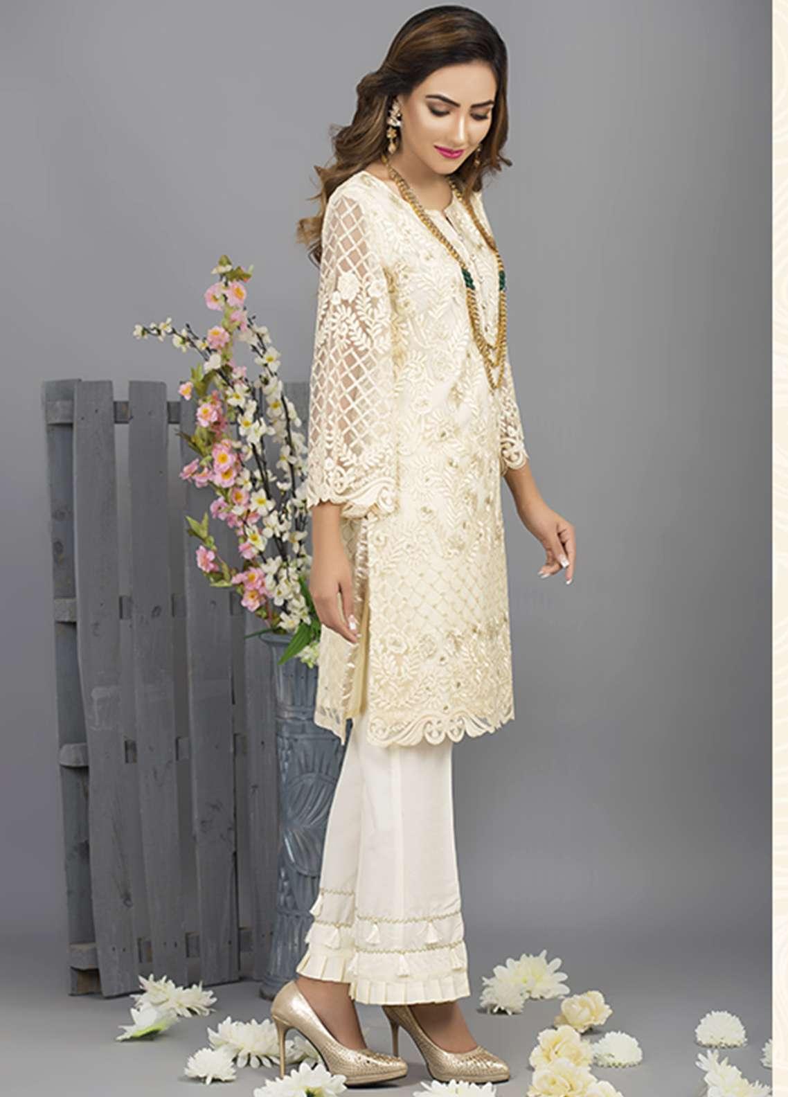 Azure Embroidered Cotton Net Stitched 2 Piece Suit AZU18C 07
