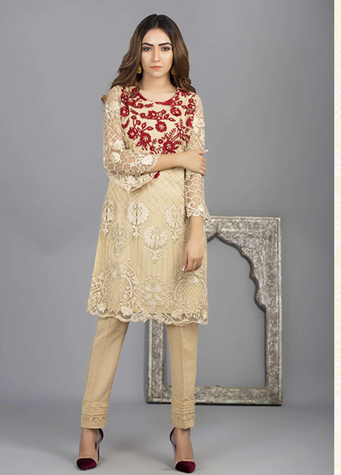 Azure Embroidered Cotton Net Stitched 2 Piece Suit AZU18C 08