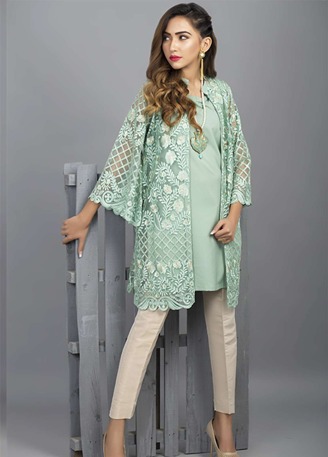 Azure Embroidered Cotton Net Stitched 2 Piece Suit AZU18C 04
