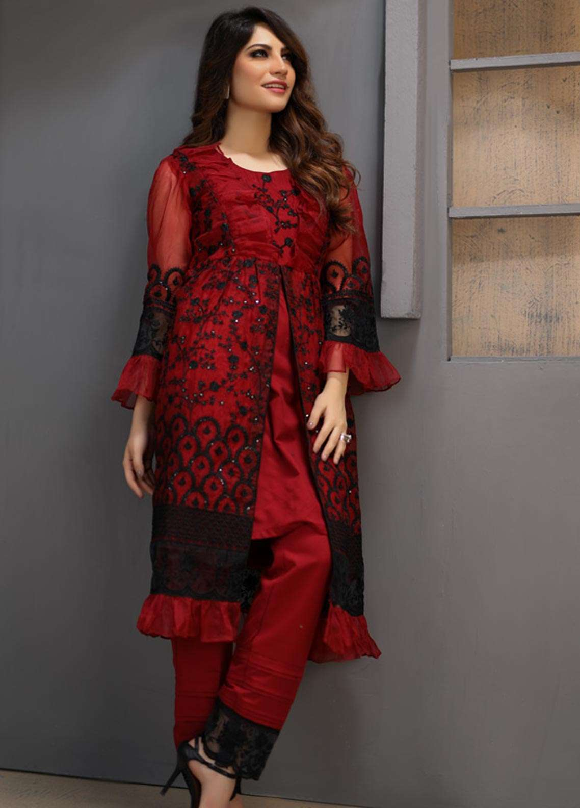 57b6f91f7e Azure Embroidered Organza Unstitched Kurties AZU18F 09 - Formal Collection