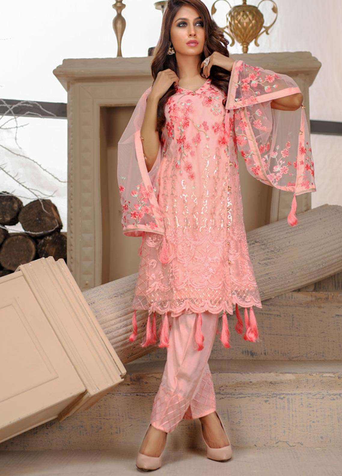 Azure Embroidered Cotton Net Unstitched Kurties AZU18F 11 - Formal Collection