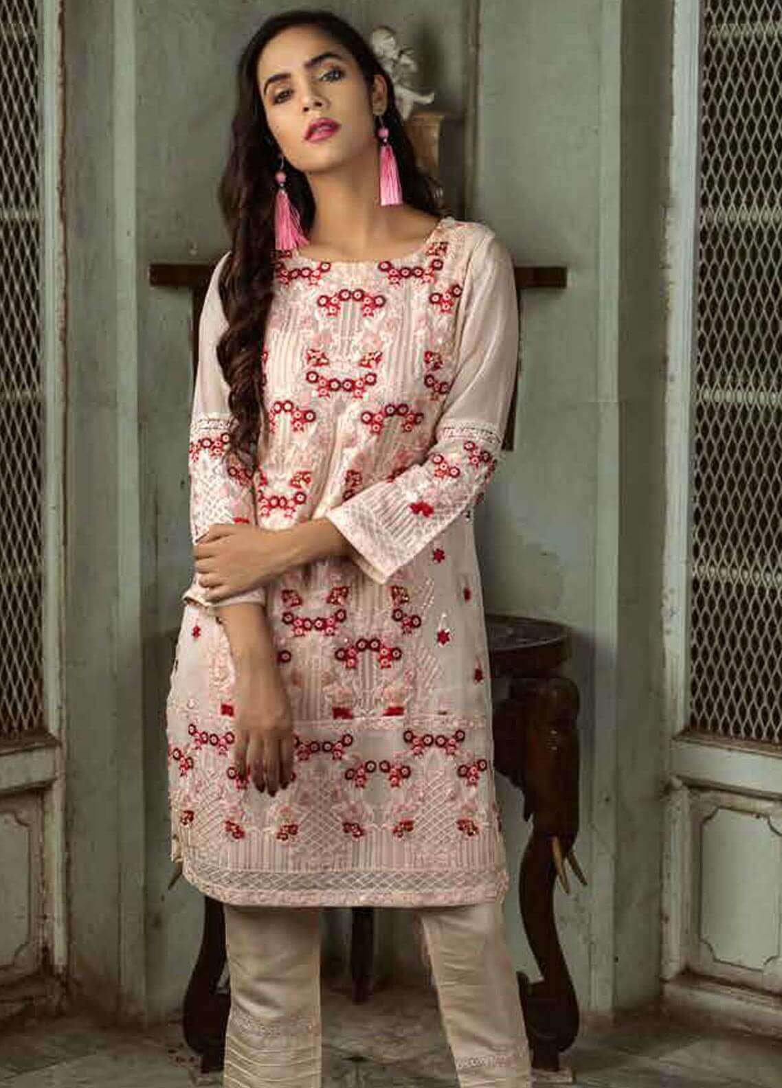 Azure Embroidered  Stitched 2 Piece Suit AZU18-C2 PEACH PRISM