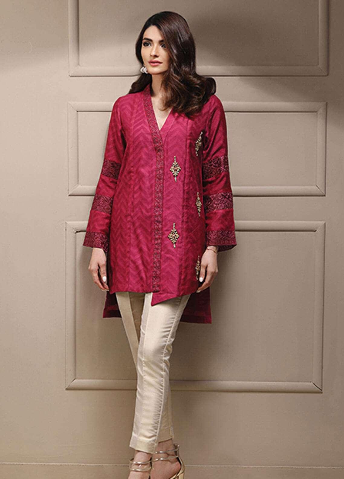 Azure Embroidered Cotton Net Stitched 2 Piece Suit AZU19CN 05 DARK MAGENTA