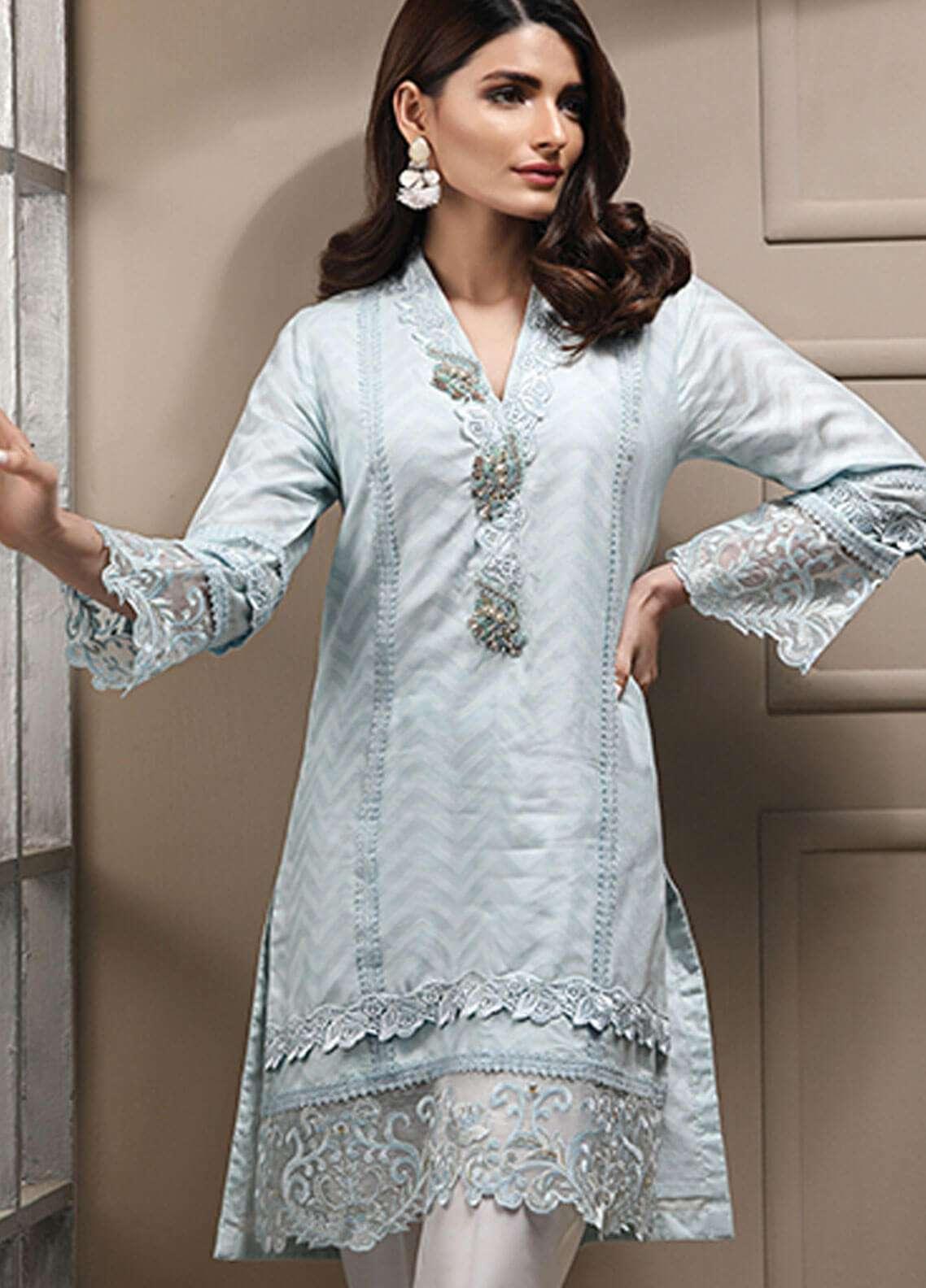 Azure Embroidered Cotton Net Stitched 2 Piece Suit AZU19CN 07 SERENITY BLUE