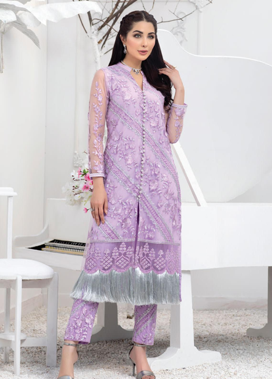 Azure Embroidered Net Unstitched Kurties AZU20F Lavender Vibes 05 - Formal Luxury Collection