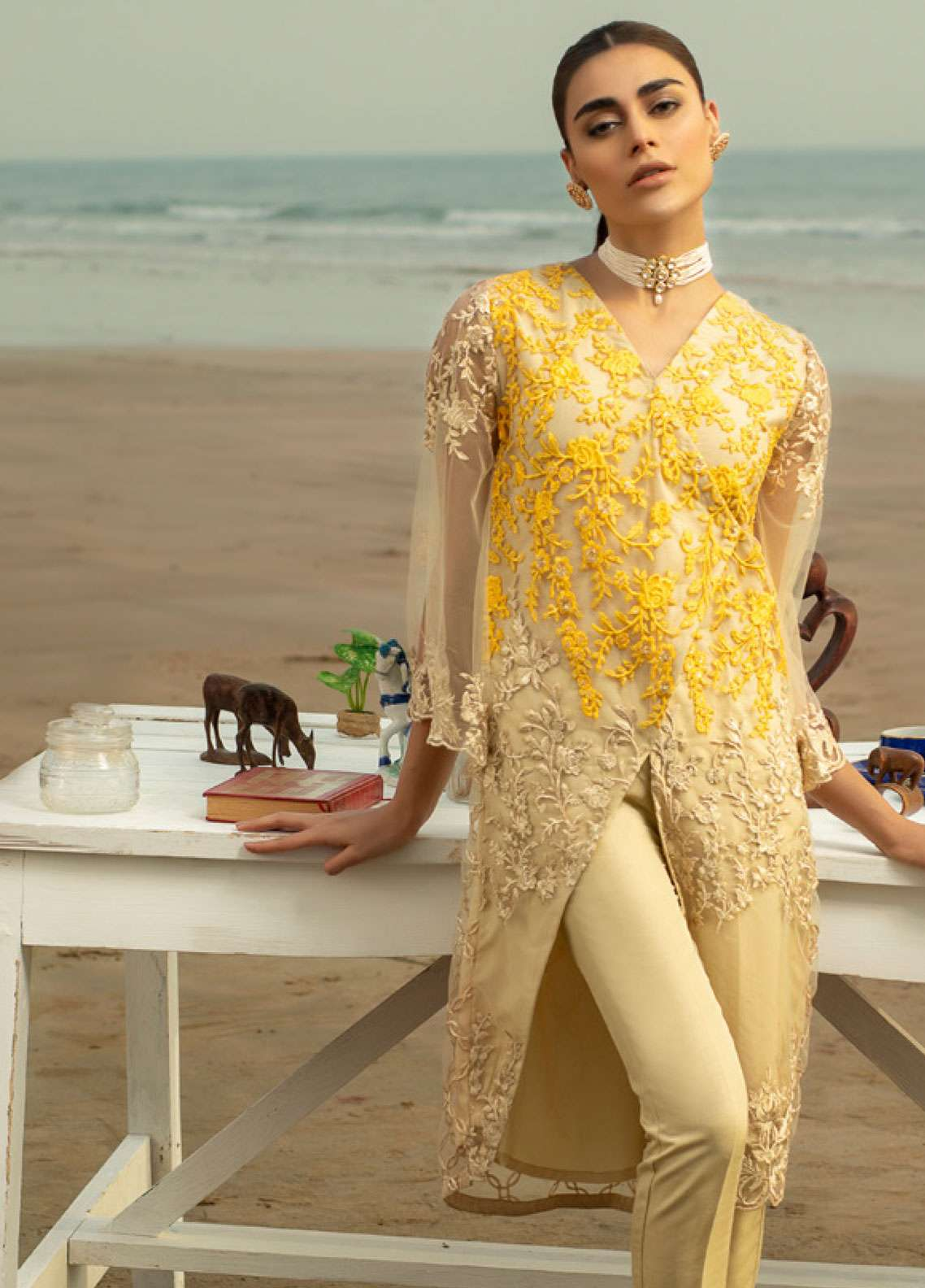 Azure Embroidered Zari Net Unstitched Kurties AZU19-K2 11 VIVID ESSENCE - Luxury Collection