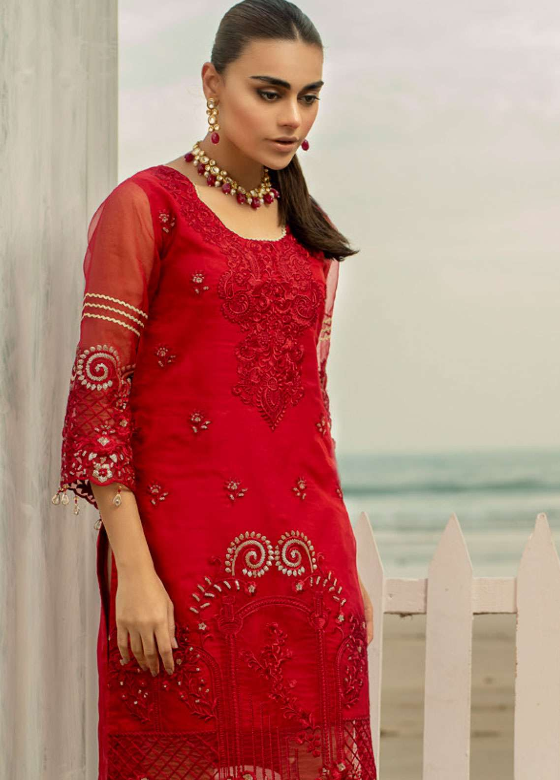 Azure Embroidered Organza Unstitched Kurties AZU19-K2 6 RUBY WOO - Luxury Collection