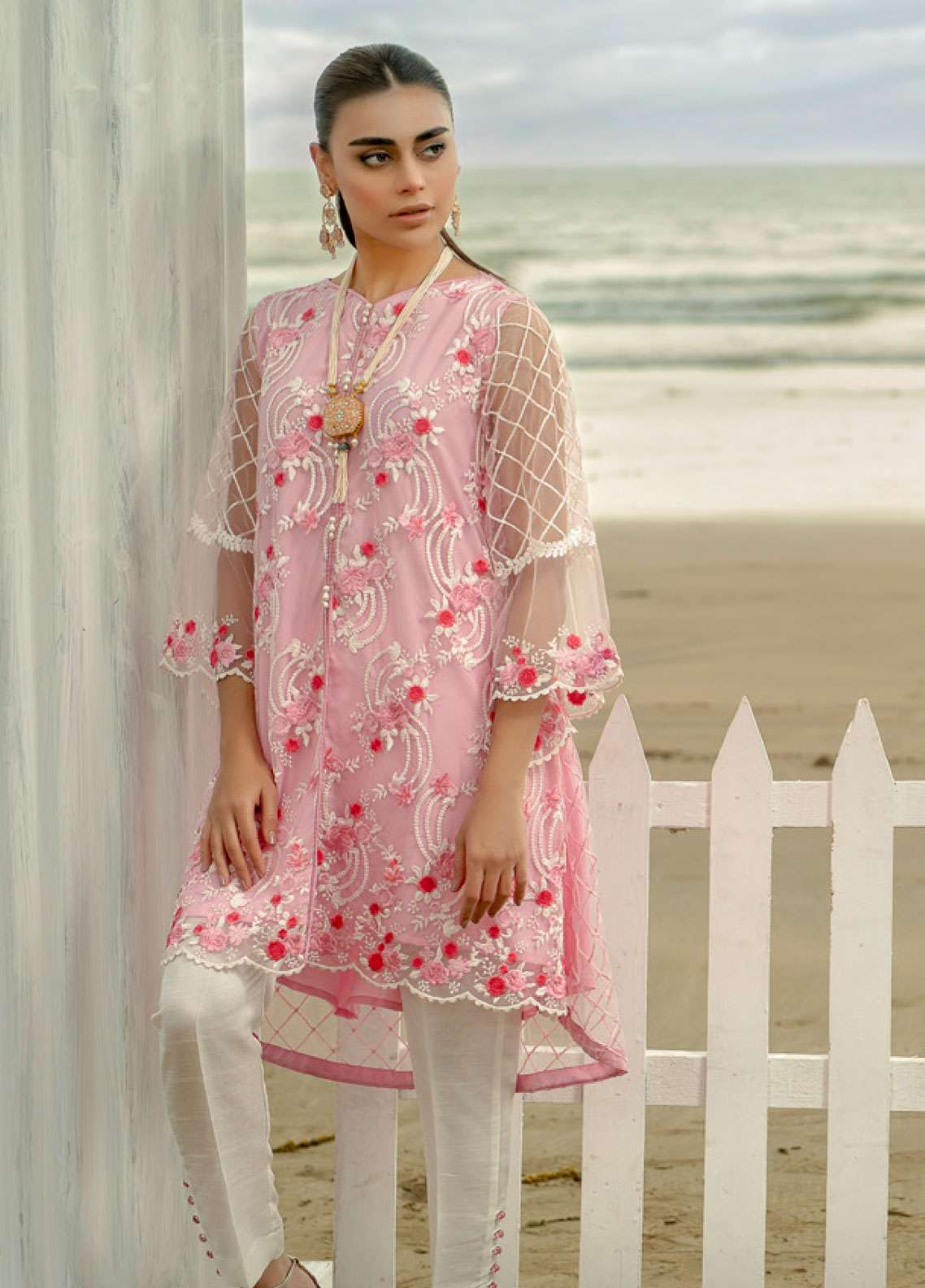 Azure Embroidered Zari Net Unstitched Kurties AZU19-K2 8 CHARISMATIC ROSES - Luxury Collection