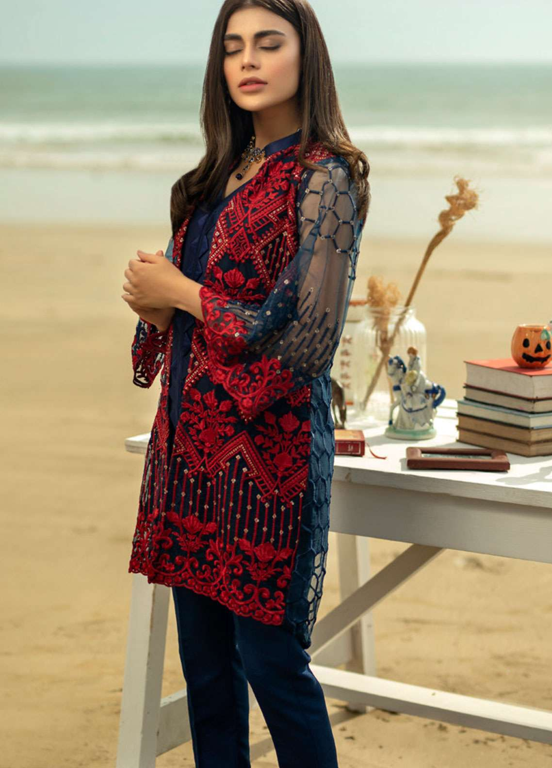 Azure Embroidered Zari Net Unstitched Kurties AZU19-K2 9 METALLIC MYSTRY - Luxury Collection