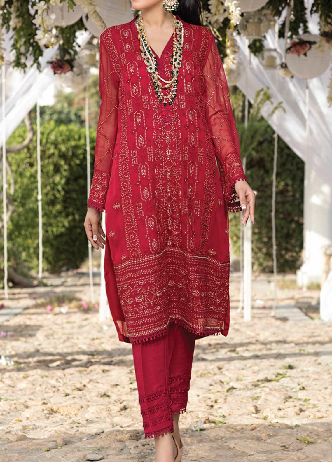 Azure Embroidered Chiffon Unstitched Kurties AZU20-LF3 01 Glittery Red - Luxury Formal Collection
