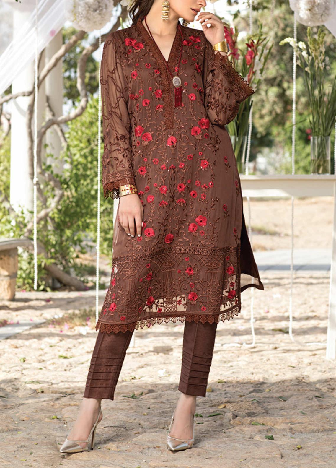 Azure Embroidered Chiffon Unstitched Kurties AZU20-LF3 04 Autumn Breeze - Luxury Formal Collection