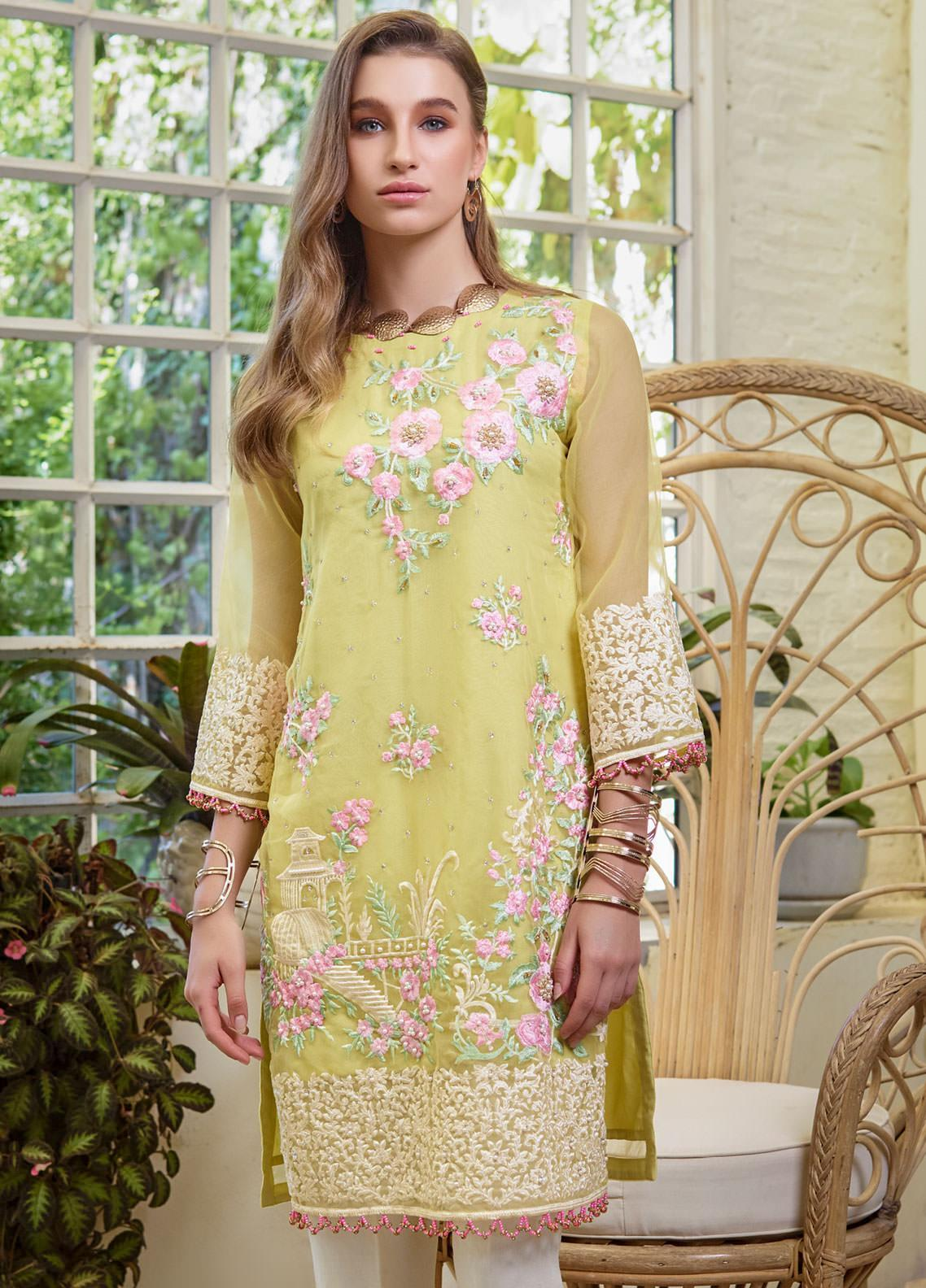 Azure Embroidered Organza Unstitched Kurties AZU19F 01 DAFFODILS - Festive Collection