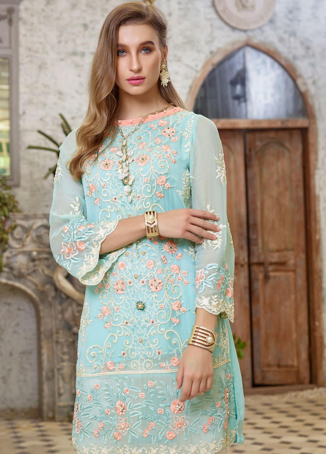 Azure Embroidered Chiffon Unstitched Kurties AZU19F 02 ECLECTIC BLOOMS - Festive Collection