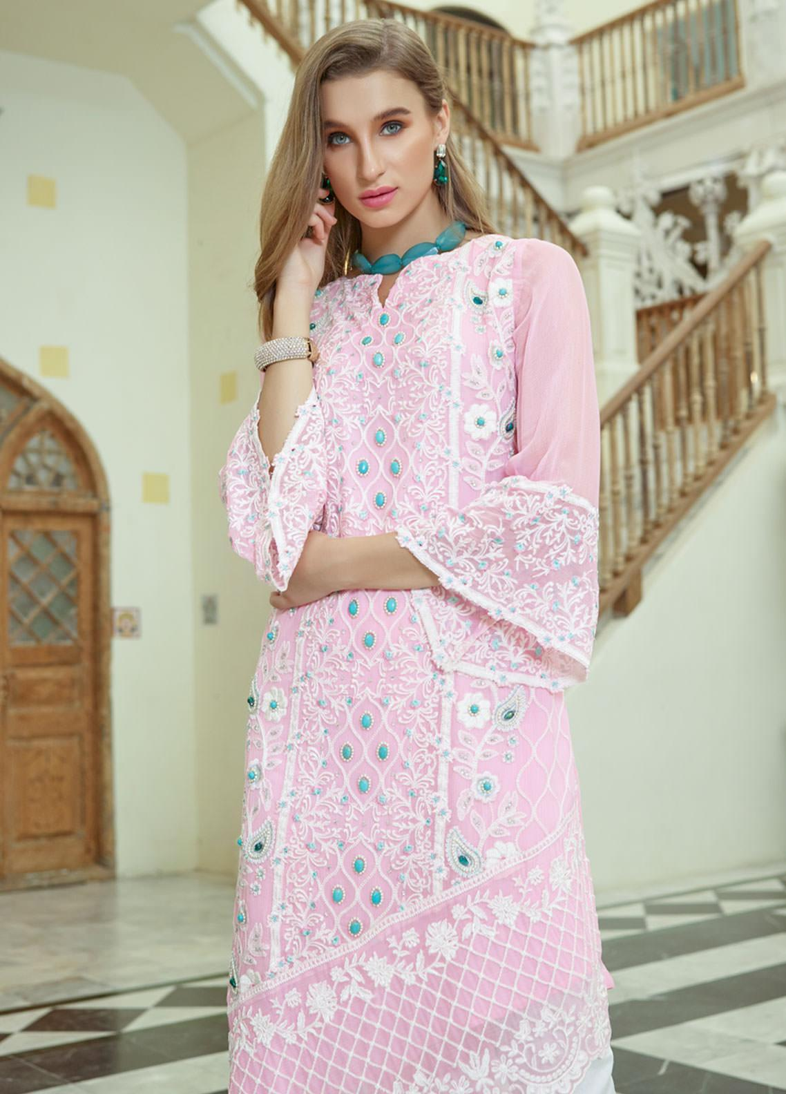 Azure Embroidered Chiffon Unstitched Kurties AZU19F 05 VINTAGE BLOOMS - Festive Collection