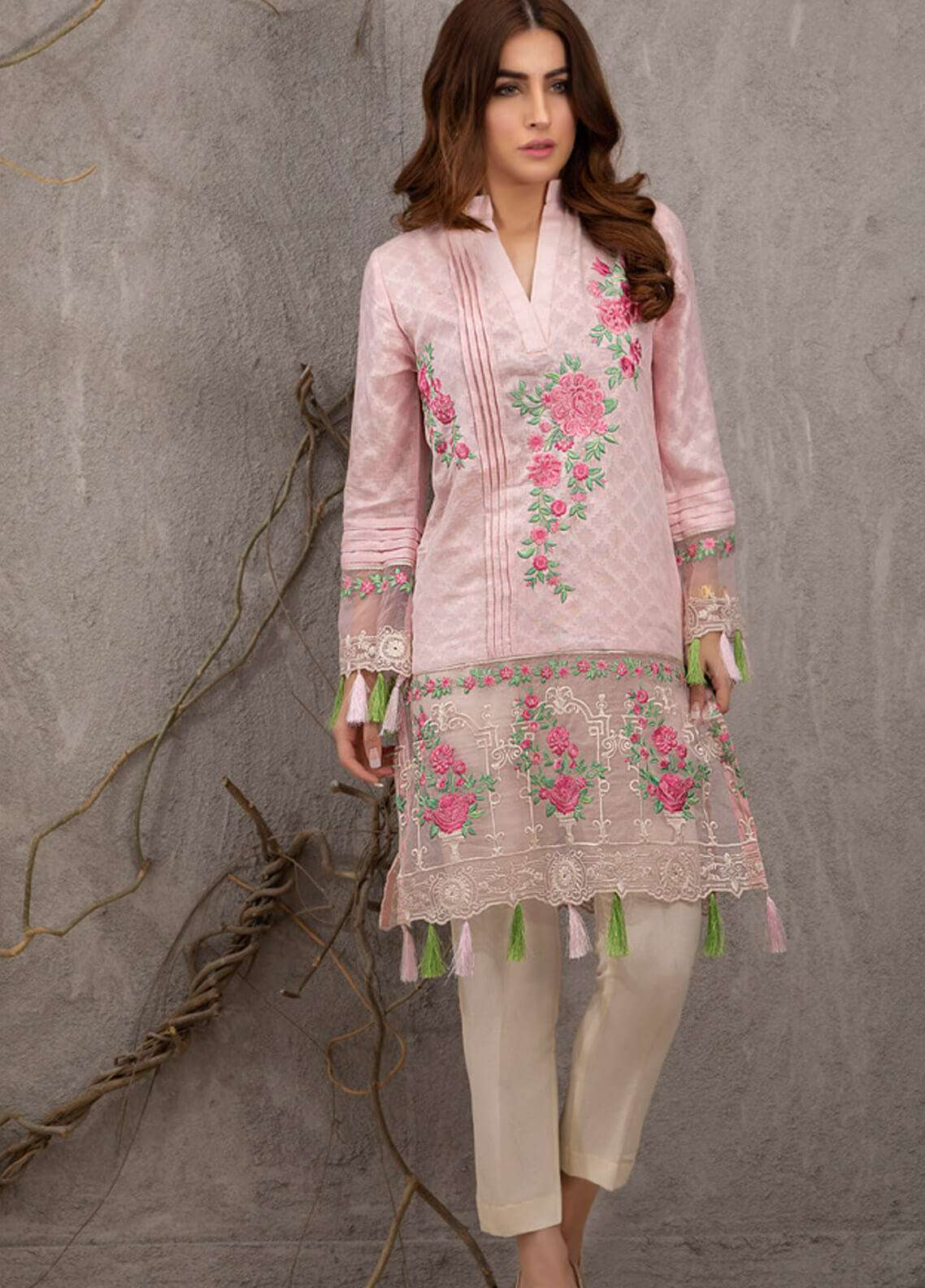 Azure Embroidered Cotton Net Unstitched Kurties AZU19K 07 - Luxury Collection