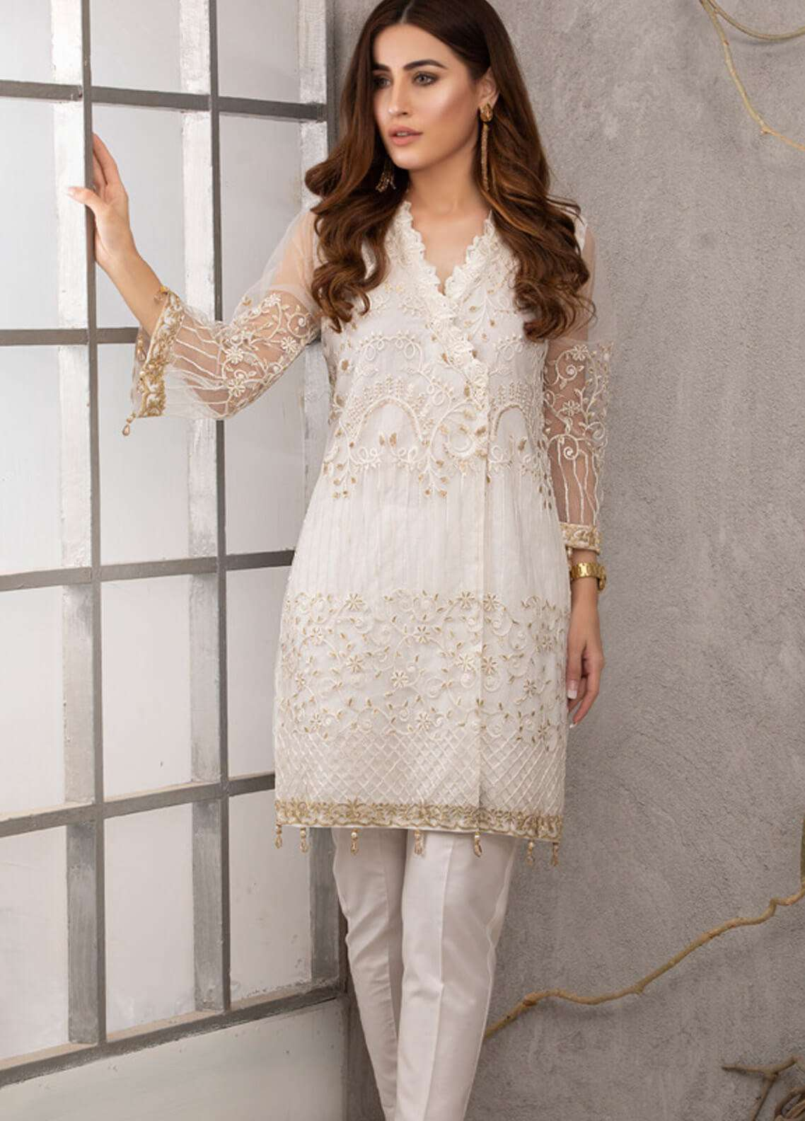 Azure Embroidered Zari Net Unstitched Kurties AZU19K 10 - Luxury Collection