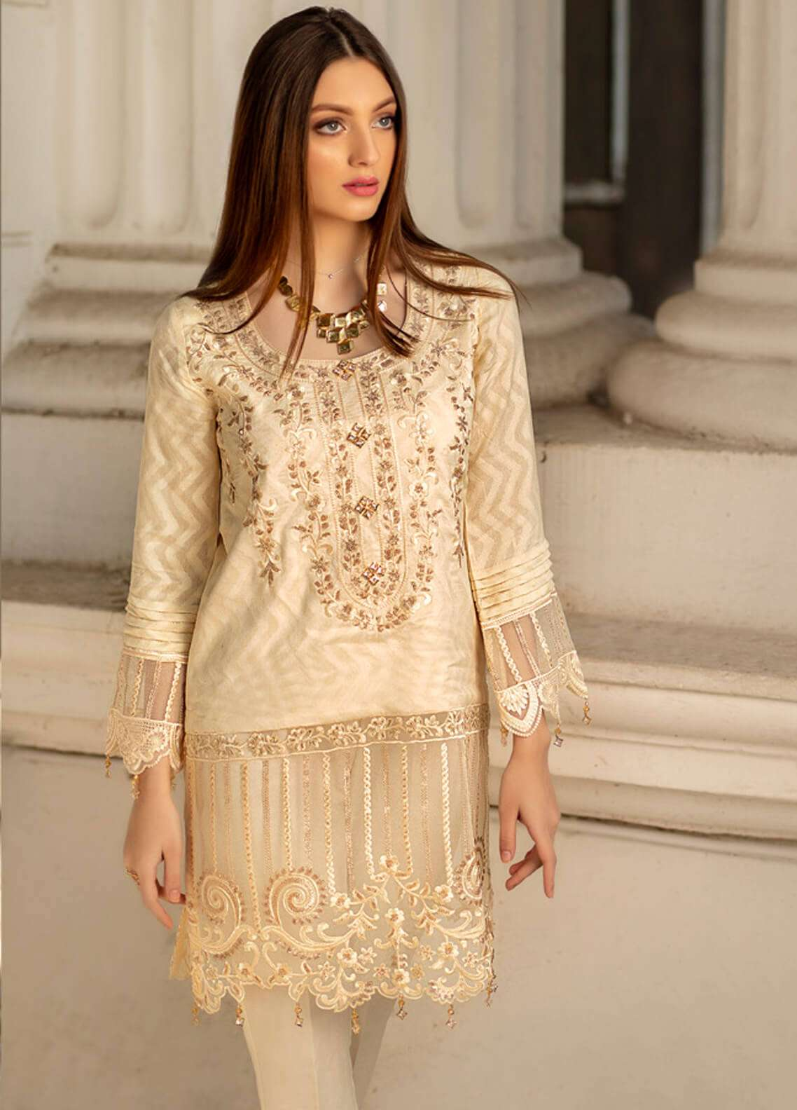 Azure Embroidered Cotton Net Unstitched Kurties AZU19K 12 - Luxury Collection