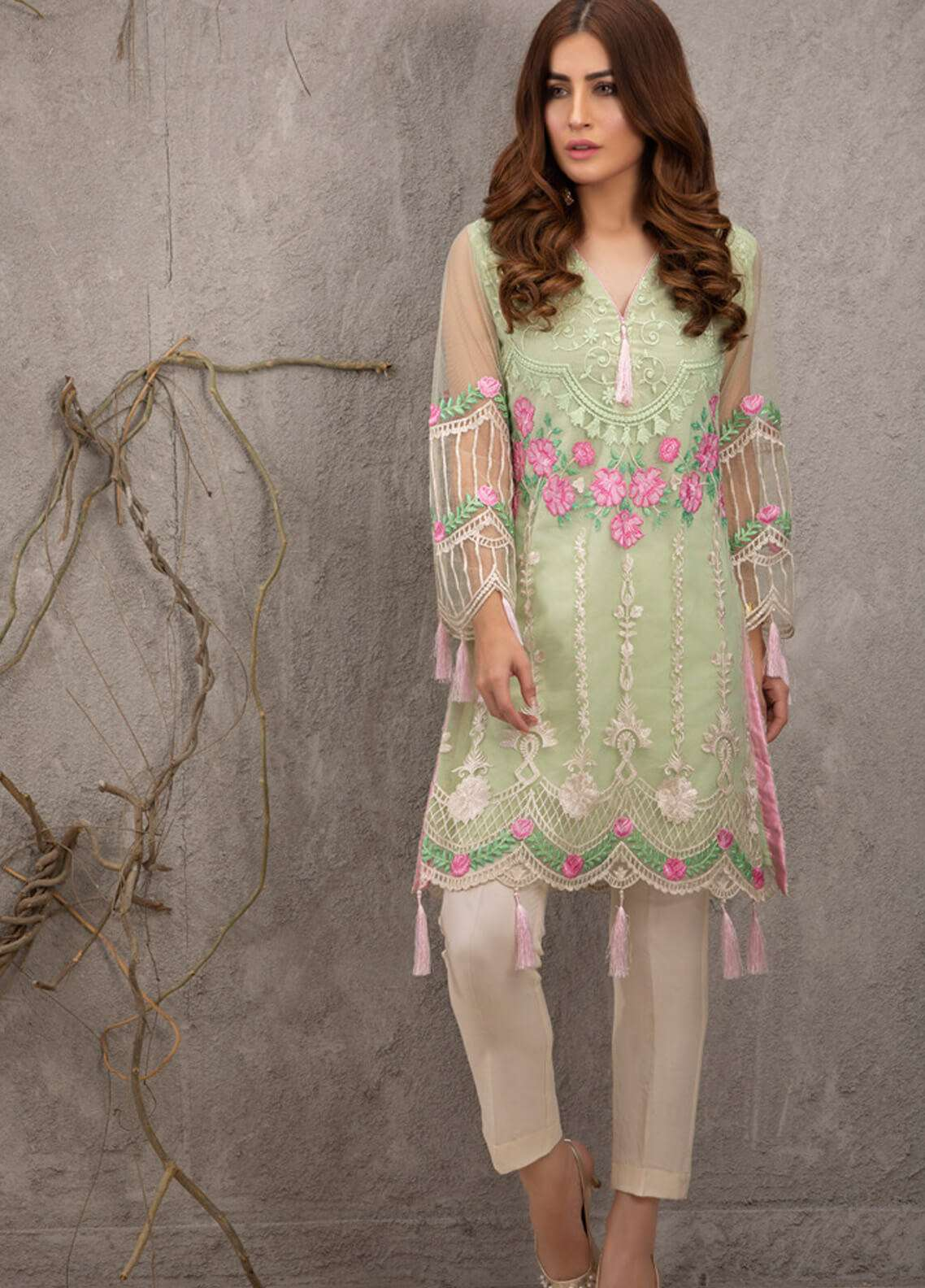 Azure Embroidered Zari Net Unstitched Kurties AZU19K 14 - Luxury Collection