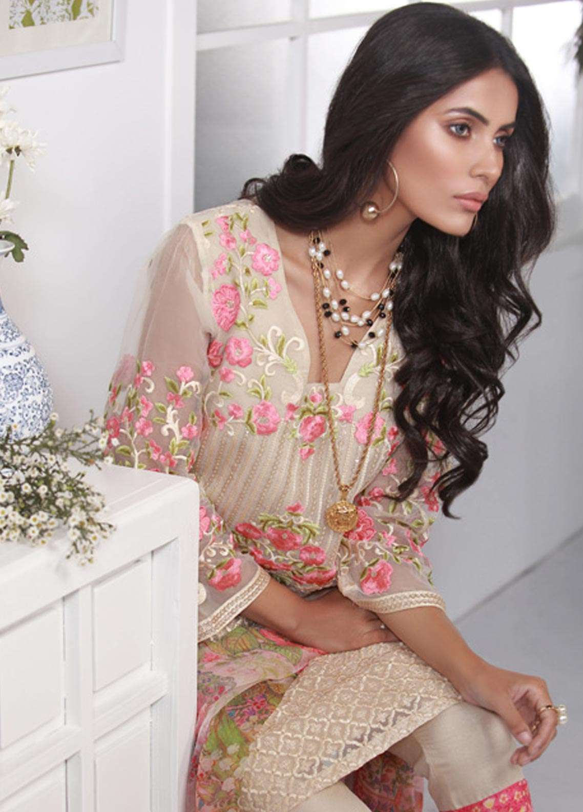 Azure Embroidered Chiffon Unstitched 3 Piece Suit AZE18C 09 - Luxury Collection